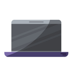Colorful silhouette of laptop computer with half vector