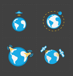 earth icons set on dark background vector image vector image