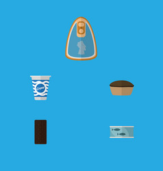 Flat icon food set of tart yogurt tin tuna and vector