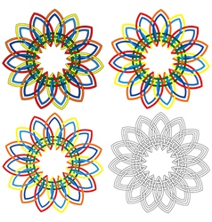 Four circular shapes similar to wicker patterns vector
