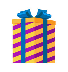 Gift box isolated striped present for festival vector