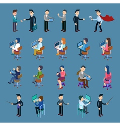 Isometric Office Workers Business People Set vector image vector image