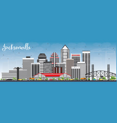 Jacksonville skyline with gray buildings and blue vector