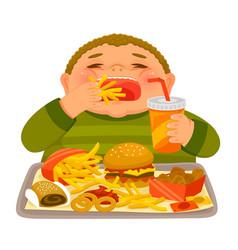 Kid eating junk food vector