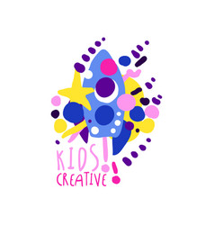 Kids creative colorful logo design template vector