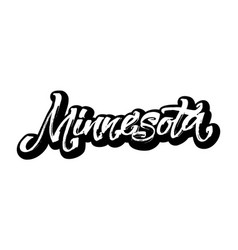 minnesota sticker modern calligraphy hand vector image vector image