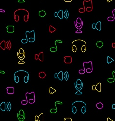 Music audio seamless pattern vector image vector image