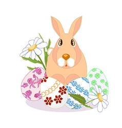 rabbit sitting on Easter eggs daisies on a white vector image
