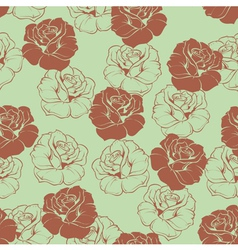 Seamless green floral pattern with brown roses vector image