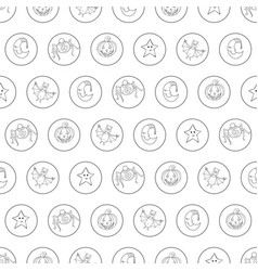 seamless halloween cartoon pattern with characters vector image vector image