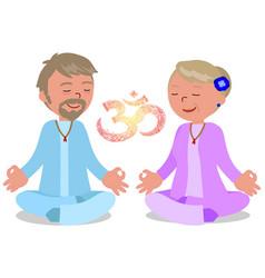 senior couple in zen pose vector image