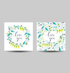 set of the two flowers and herbs cards vector image vector image