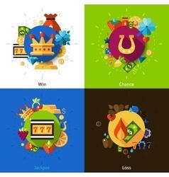 Slot machine concept icons set vector