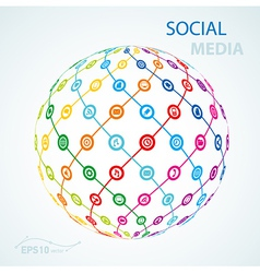 Social media element icon sheme globe worldwide vector