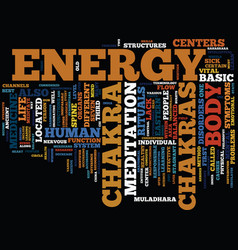The body s energy centers text background word vector