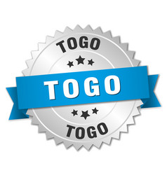 Togo round silver badge with blue ribbon vector