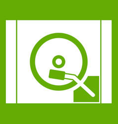 turntable icon green vector image
