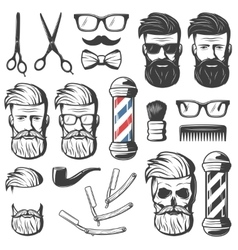 Vintage barber elements set vector