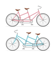 Vintage tandem bicycle set vector