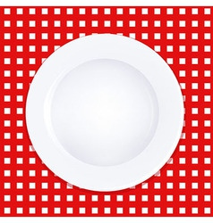 White Plate On Checkered Tablecloth vector image