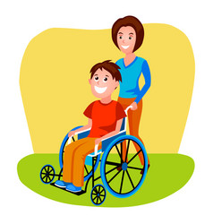 Woman helping disabled person in wheelchair vector