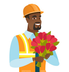 Young african-american builder with bouquet vector