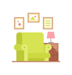 Flat armchair in colorful cartoon style vector