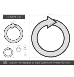 Recycling line icon vector
