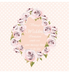 Watercolor pink roses flowers frame vector