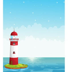 A lighthouse in the middle of the sea vector