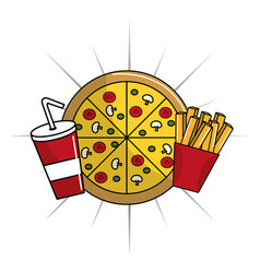 Pizza with fries french and soda icon vector