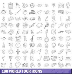 100 world tour icons set outline style vector