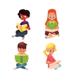 children boys and girls reading interesting book vector image
