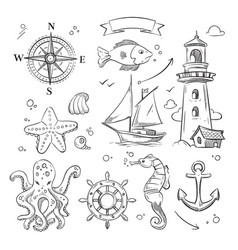 Hand drawn sea marine objects and ocean animals vector