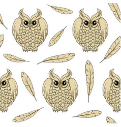 Seamless pattern with owls and feathers vector
