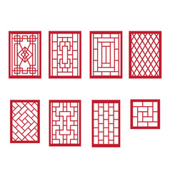 Set of chinese pattern window with frame vector