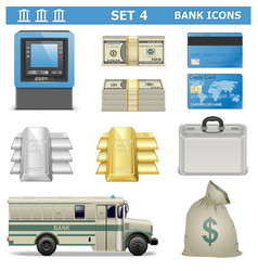 Bank icons set 4 vector