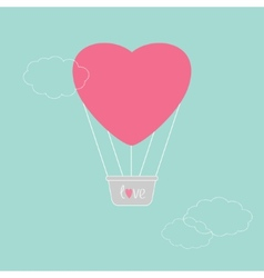 Hot air balloon in shape of heart dash line clouds vector