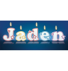 Jaden written with burning candles vector