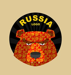 Bear logo of russia traditional russian ornament vector
