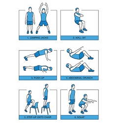Set sport exercises 7 minutes vector