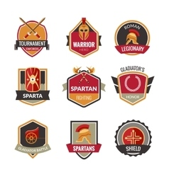 Gladiator emblems set vector