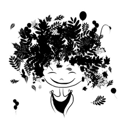Autumn female portrait black silhouette for your vector
