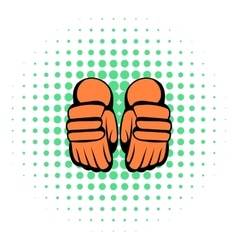 A pair of hockey gloves icon comics style vector