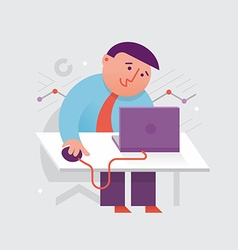 Working at the laptop vector