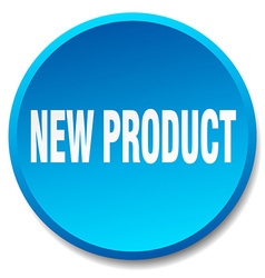 New product blue round flat isolated push button vector