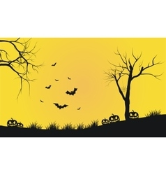 Halloween yellow backgrounds silhouette vector