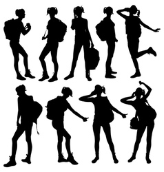 Silhouette of woman with backpack vector