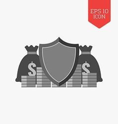Finance protection concept icon flat design gray vector