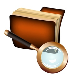 Antique leather notebook and magnifying glass vector image vector image